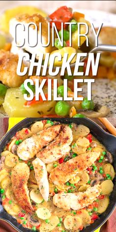 This country chicken skillet recipe is a family-friendly dinner ready in about 30 minutes. This healthy one-pan dinner features chicken tenderloins potatoes mushrooms bell pepper carrots sweet peas onion and garlic - perfect comfort food for the Fall! Chicken Skillet Recipes, Healthy Chicken Recipes, Chicken Potato Carrot Recipe, Chicken Tenderloin Recipes Healthy, Chicken Pieces Recipes, One Skillet Meals, Keto Chicken, Chicken Pasta, Rotisserie Chicken