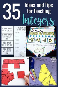Introducing and teaching integers can be a challenge because middle school students often struggle with the topic. These THIRTY-FIVE ideas, tips, and activities will help you plan your lessons for this unit. There are ideas for interactive notebooks, ad Integers Activities, Math Activities, Math Resources, Kids Worksheets, Printable Worksheets, Free Printable, Math Lesson Plans, Math Lessons, Adding And Subtracting Integers