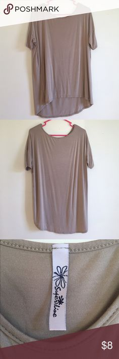 Tan Stretch Tee Shirt size L Perfect staple for neutral wardrobes! Dress is up with bright jewelry or keep it simple! Flowy and cool stretch material! In great condition, only worn once! superline Tops Tees - Short Sleeve
