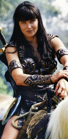 Lucy Lawless as Xena in Xena: Warrior Princess.