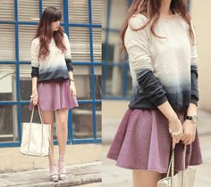 Romwe Ombre Sweater, Chicwish Fluffy Violet Skirt, Miu Miu Embellished Silver Sandals, Dopamin Origami Pearl Bracelet