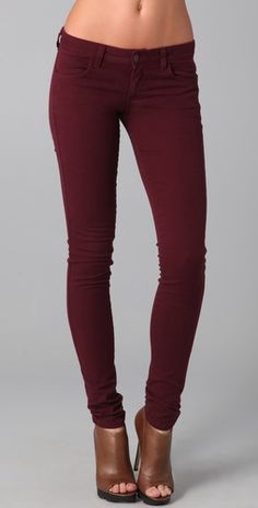 These are on my shopping list for fall! Maroon skinny jeans