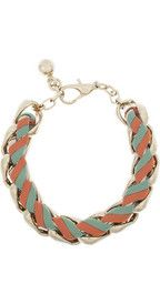 CHLOÉ  Rebecca woven brass and leather chain bracelet  €295