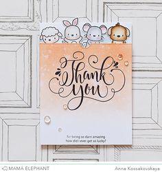 Mama Elephant Stamp Highlight: Thank You Wishes @akossakovskaya #cardmaking #mamaelephant