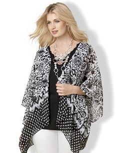 Sheer cascade cardigan updates your outfit with a contemporary design. Open-front style features a sketch-like streak print with a diamond border at the asymmetrical hem. Complete with wide sleeves that drape nicely over your arms. Catherines tops are perfectly proportioned for the plus size woman. catherines.com