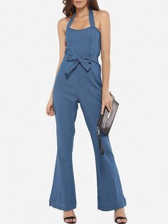 #AdoreWe #FashionMia Jumpsuits - FashionMia Bowknot Denim Hollow Out Plain Jumpsuits - AdoreWe.com