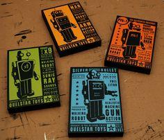 Robot Room: Retro Robot - Quelstar Robot Art Blocks - Set of Four - 4 in x 6 in Robot Wall Decor. $48.00, via Etsy.