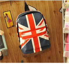 Fashion Canvas British Flag BackPack School Bag 5dfede4de8d04