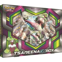 BATTLE IN MAJESTIC STYLE! Introducing Pokmon royalty: Tsareena-GX, whose Queens Command-GX attack has the power to completely devastate your opponents hand! Youll find Tsareena-GX here as a fully playable foil card, plus a stunning oversize card. Whats more, youll have control of the full might and majesty of Tsareena-GX, to your opponents dismay! All Pokemon Cards, Pokemon Trading Card, Trading Cards, Fred Figglehorn, Pokemon Tattoo, Pinball, Card Games, Box, Foil Card
