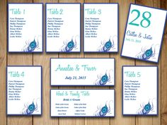 """Peacock Wedding Seating Chart Template Download - """"Peacock Feather"""" Horizon Blue Teal Table Number - Wedding Reception Chart by PaintTheDayDesigns on Etsy"""