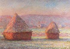 """Claude Monet – """"Meules (Haystacks, white frost)"""" - 1889 - oil on canvas - Hill-Stead Museum, Farmington. Pierre Auguste Renoir, Kandinsky, Claude Monet, Monet Paintings, Landscape Paintings, Karl Kraus, Artist Monet, Impressionist Paintings, Manet"""