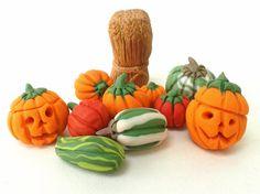 Halloween Decorations, Miniature Pumpkins, Thanksgiving Decor, Polymer Clay Miniatures, Dollhouse Miniatures, Carved Pumpkin, Clay Ornaments