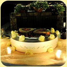 Wedding cake a due cuori #rosegialle #giallo #matrimonio #cuori