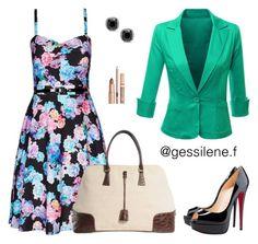 """vestido floral"" by gessilene-ferreira on Polyvore featuring moda, City Chic, Doublju, Christian Louboutin e Prada"