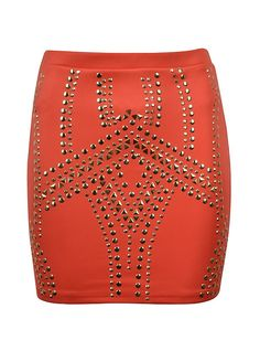 Studded Bodycon Skirt; Coral. Gorgeous!