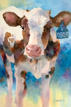Gallery of original and limited edition prints of birds and animals by Susan Crouch. Cow Paintings On Canvas, Farm Paintings, Animal Paintings, Watercolor Animals, Watercolor Print, Watercolor Paintings, Watercolors, Cow Drawing, Painting & Drawing