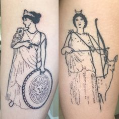 fresh stick and poke of Athena on the left and healed Artemis on the right done by Tati Compton at Saved Tattoo LA- Los Angeles
