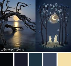 Find serenity in the soft tones of this Moonlight Shores color inspiration.