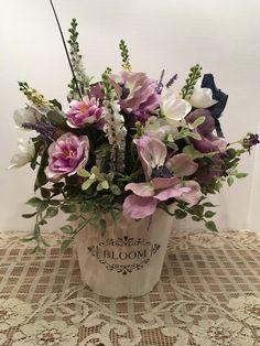 Lavender Spring Floral Arrangement in  Bloom Bucket, Mothers Day  Gift, Summer Floral Arrangement, by SheilasHomeCreations on Etsy