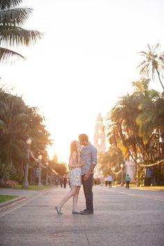 balboa park san diego engagement photo, sunflare engagement
