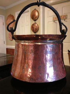 Large Antique Primitive Solid Copper Pot Cauldron Kettle Pan Bucket Pail 1800S