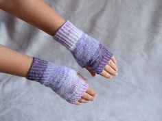 Purple angora wristwarmers, thin knit fingerless gloves, office gloves…
