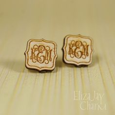 {personalized} flared monogram post earrings {handmade by ElizaJayCharm}    DETAILS:  • engraved and cut from 1/8 thick maple or 1/16 acrylic  •