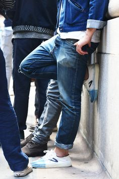 Street Wear. Style. Look. Man. Fashion. Jeans. Worn. Used. White & Blue. Perfect Fit. Rolled Up. Trashed.