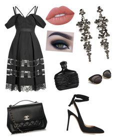 """""""Untitled #213"""" by megyeria on Polyvore featuring self-portrait, Gianvito Rossi, Kenneth Jay Lane, Chanel, Too Faced Cosmetics and Lime Crime"""