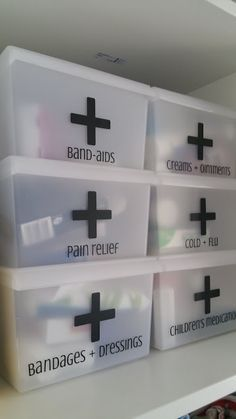 First Aid Organization Boxes. I need to do this in our closet. It would make our medicine take up so much less space. Organize Declutter Best medicine cabinet organization ideas.