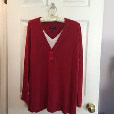 Red lightweight sweater with bone colored insert Beautiful red v neck sweater with 2 large matching buttons and bone colored v neck insert peeking out. Gently worn. Perfect condition. Avenue Sweaters V-Necks