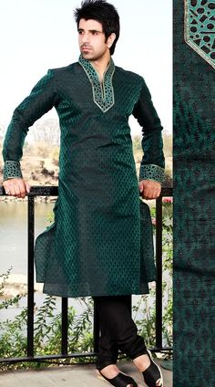 SI155115 Rama Green Men Kurta Payjama