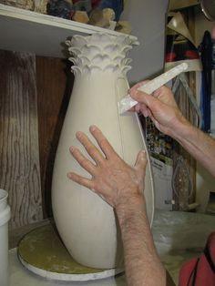 Jemerick applying texture altering technique tip pottery ceramics clay