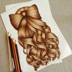 Hair drawing ideas kristina webb New ideas Girly Drawings, Cool Art Drawings, Pencil Art Drawings, Amazing Drawings, Art Drawings Sketches, Beautiful Drawings, Colorful Drawings, Drawing Faces, Art Illustrations