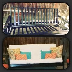 A little imagination goes a long way. $15 used futon frame to amazing outdoor furniture.