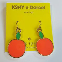 Kate Spade Apple Darcel Hanging earrings These lovely earrings are from the Kate Spade New York Limited Edition NYC artist collaboration with X Darcel they are 14k gold filled! These are wonderful apple fruit earrings that are bright neon pink with a green leaf at the top stem. These are on hooks to hang down. Beautiful and no longer sold in stores. Brand New unused and great with your favorite shirt and jeans. kate spade Jewelry Earrings