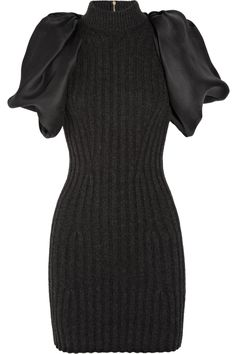 Ribbed wool-blend and silk-gazar dress by Lanvin