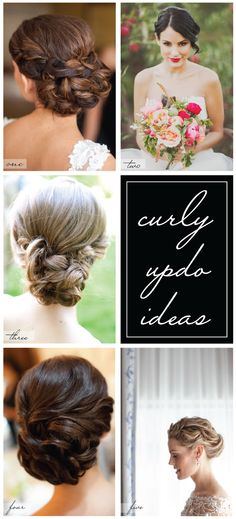 Hairstyles /curly updo ideas for brides + bridesmaids! Curly Wedding Hair, Simple Wedding Hairstyles, Bride Hairstyles, Pretty Hairstyles, Bridal Hair, Hair Design For Wedding, Wedding Ideas, Playing With Hair, Hair Dos