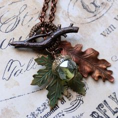 Autumn Oak and Maple Leaves with Vintage Soda Bottle Glass Bead Acorn Handmade Necklace by Renee Hong of jewelryfineanddandy, $29.00