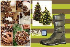piñas para decorar esferas, arbolito navideño de liston... www.clickshoes.com.mx bota para regalar modelo wcross