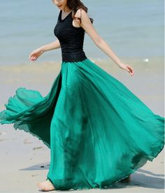 New 2014 Women Summer Long Skirts Desigual Chiffon Maxi Skirt Bohemian Summer Beach Pleated Skirt Female 5 Colors Free Shipping-in Skirts from Apparel & Accessories on Aliexpress.com | Alibaba Group