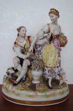 Large-Antique-Victorian-German-Aelteste-Volkstedter-Porcelain-Figurine