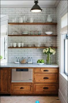 Ideas to update oak kitchen cabinets with open or floating shelves for glasses a. Ideas to update oak kitchen cabinets with open or floating shelves for glasses and plates via Crown Point Cabinetry Oak Kitchen Cabinets, Kitchen Redo, Kitchen Tiles, Kitchen Shelves, Kitchen Rustic, Kitchen Paint, Kitchen White, Kitchen Colors, Rustic Cabinets