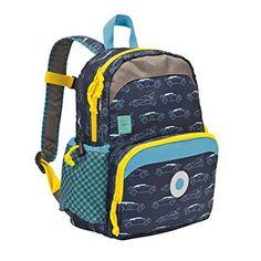 Lässig Mini sac à dos avec voitures marine - Sac à dos enfants – pour la maternelle ou en excursion.  Le compartiment isolé sur le devant est idéal pour y mettre le goûter et la poche latérale sera occupée par la gourde. Disponible en quatre modèles différents. EUR 27