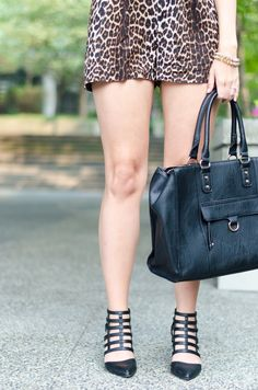 high waist leopard print shorts and cage heels