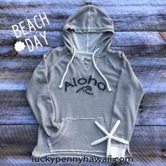 Life takes you down many paths, but my favorite ones lead to the beach.   Aloha Wave Applique Hoodie is made from a french terry fabrication. This hoodie is so comfortable you might need two! More colors available. Lucky Penny, Beach Day, French Terry, Vintage Looks, Paths, Hooded Jacket, To My Daughter, Wave, Hawaii