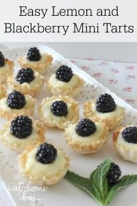 Easy Lemon Blackberry Mini Tarts - no bake and only 4 ingredients