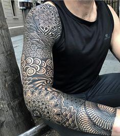 best full sleeve tattoos ever Forearm Tattoos, Body Art Tattoos, Tatoos, Black Tattoos, Tribal Tattoos, Maori Tattoos, Geometric Sleeve Tattoo, Mandala Tattoo Sleeve, Geometric Tattoos Men