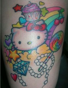 Cute Hello Kitty tattoo.