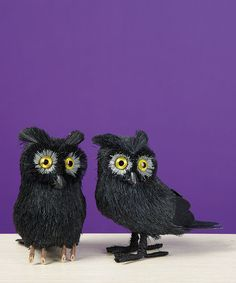 Take a look at this Small Black Sisal Night Owl Figurine - Set of Two by Transpac Imports on #zulily today!